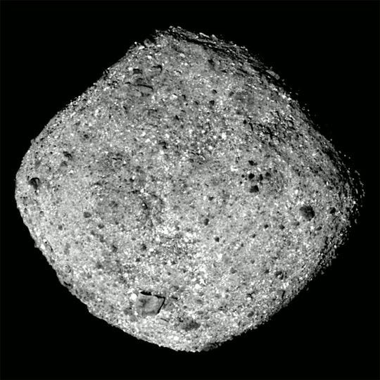 This image of the asteroid Bennu was taken by the OSIRIS-REx spacecraft from a distance of around 50 miles.