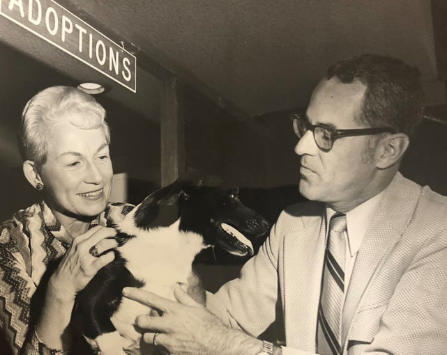 "A guest with a pet visits Marge Wright on ""Pets on Parade."""