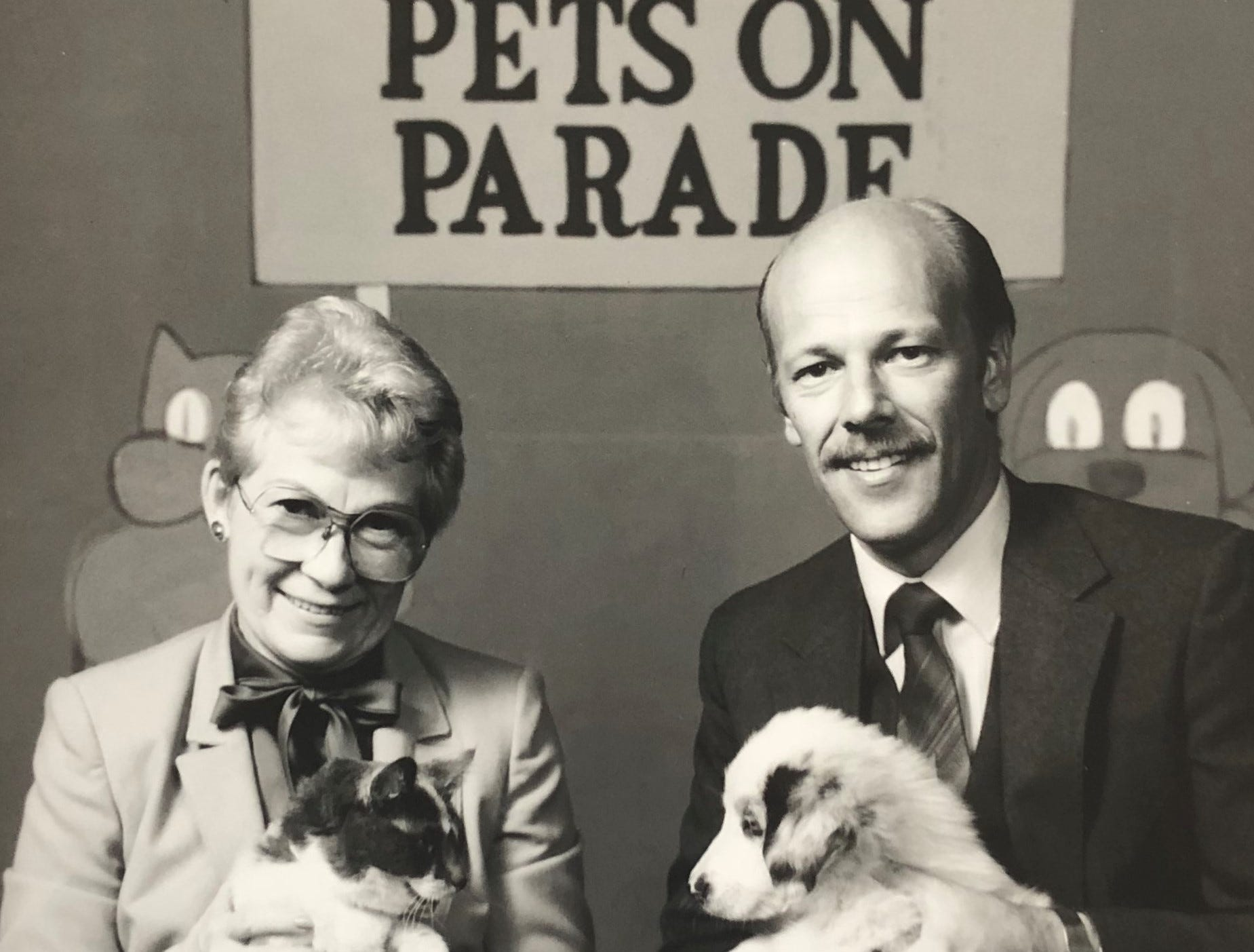 "Marge Wright and director Dale Dunning pose on the ""Pets on Parade"" set."