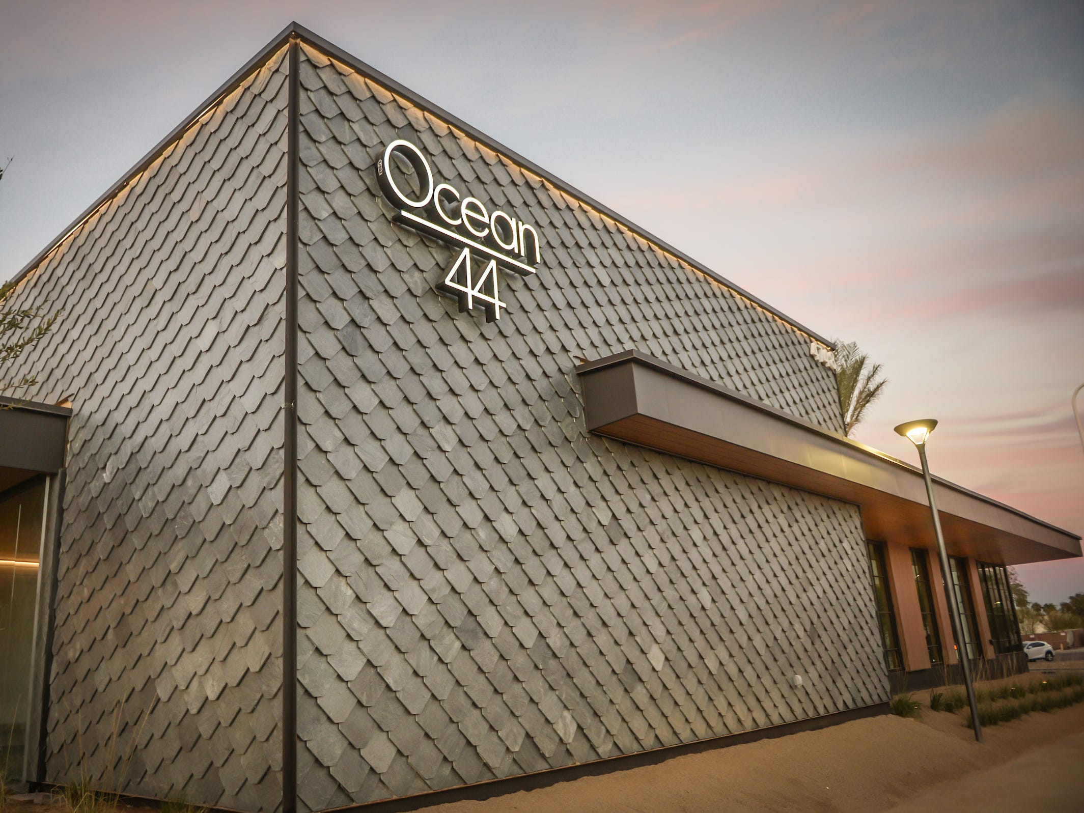 The exterior of Ocean 44 in Scottsdale, near Scottsdale Fashion Square.