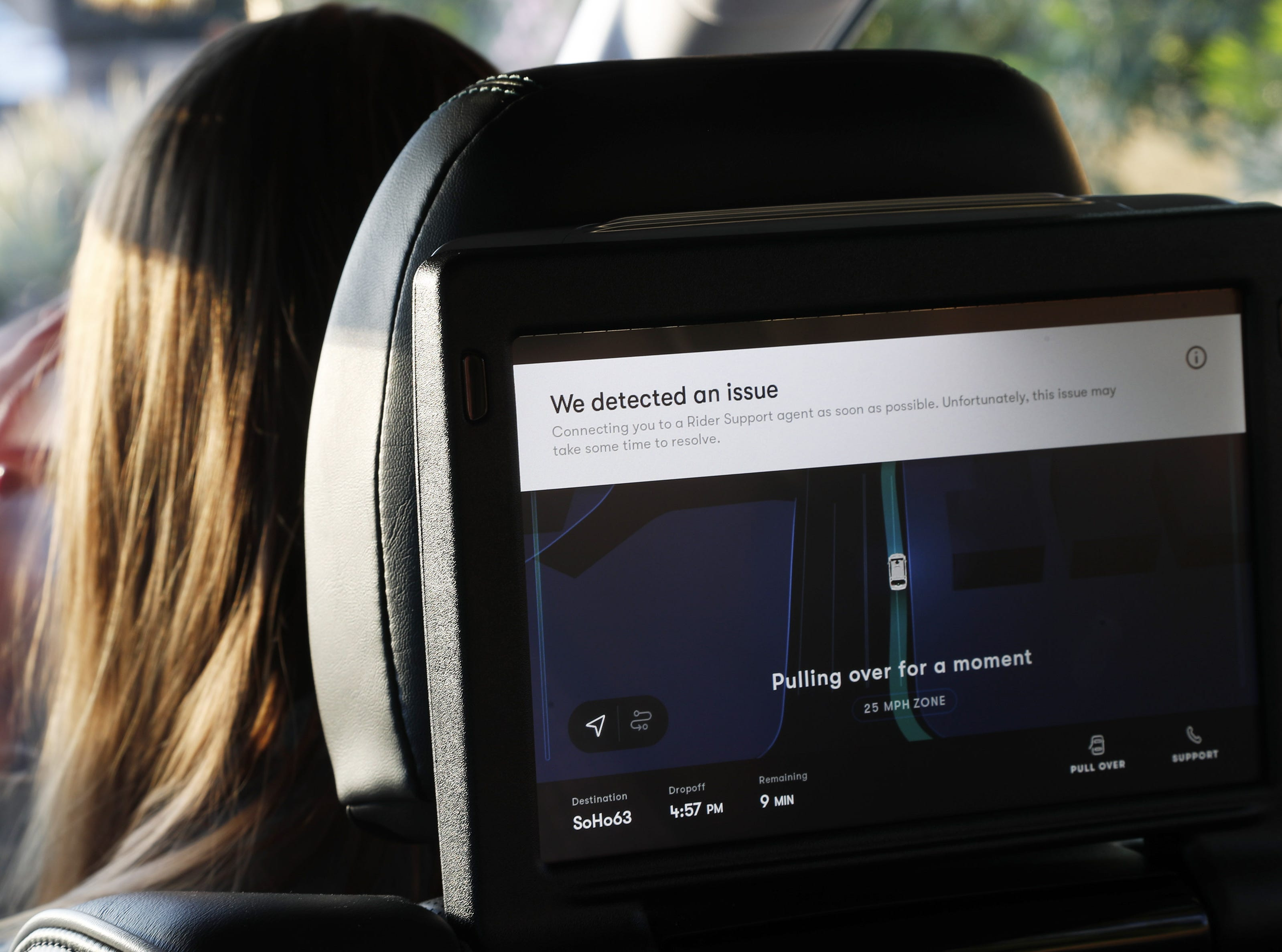 An error message displays on a screen Nov. 28, 2018, during a Waymo self-driving car ride in Chandler. Tempe, Mesa, Chandler and Gilbert will be the first cities in the world with Waymo One self-driving service.