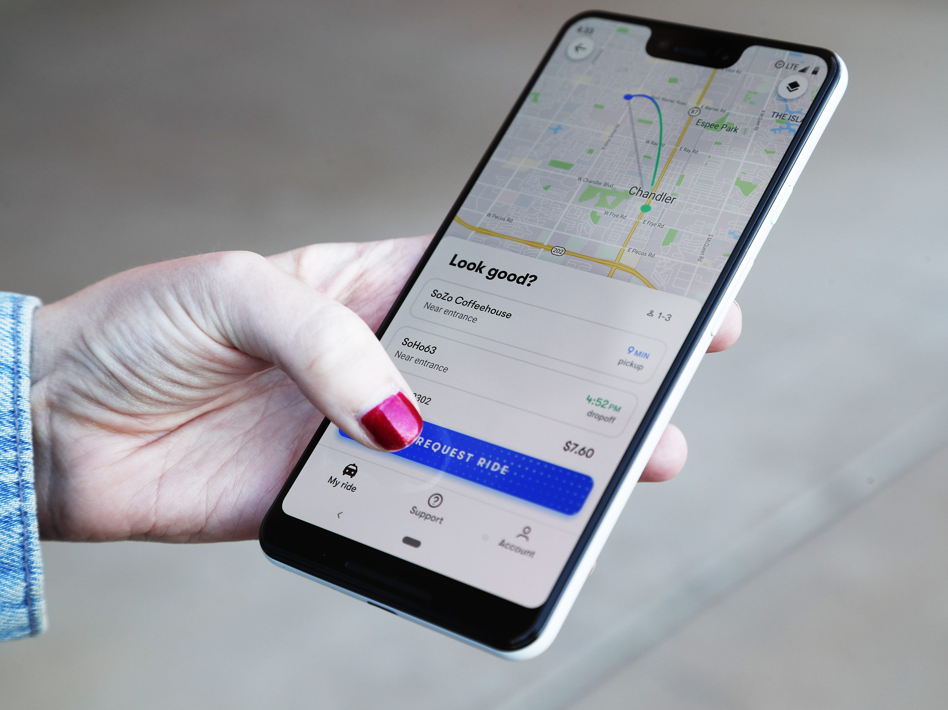 Waymo self-driving car app demonstrated during a ride Nov. 28, 2018, in Chandler. Tempe, Mesa, Chandler and Gilbert will be the first cities in the world with Waymo One self-driving service.