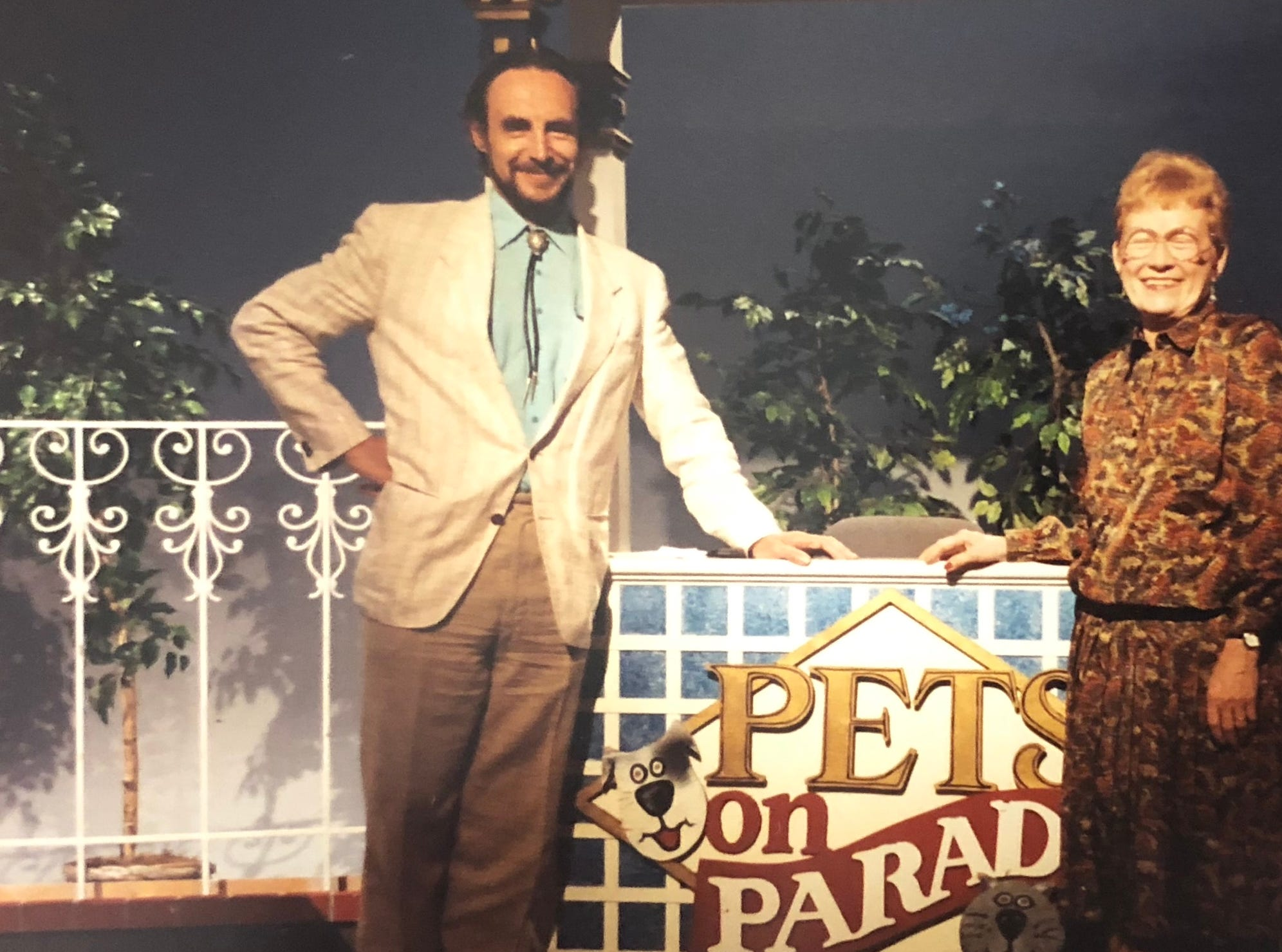 "Marge Wright and an unidentified guest appear on ""Pets on Parade."""