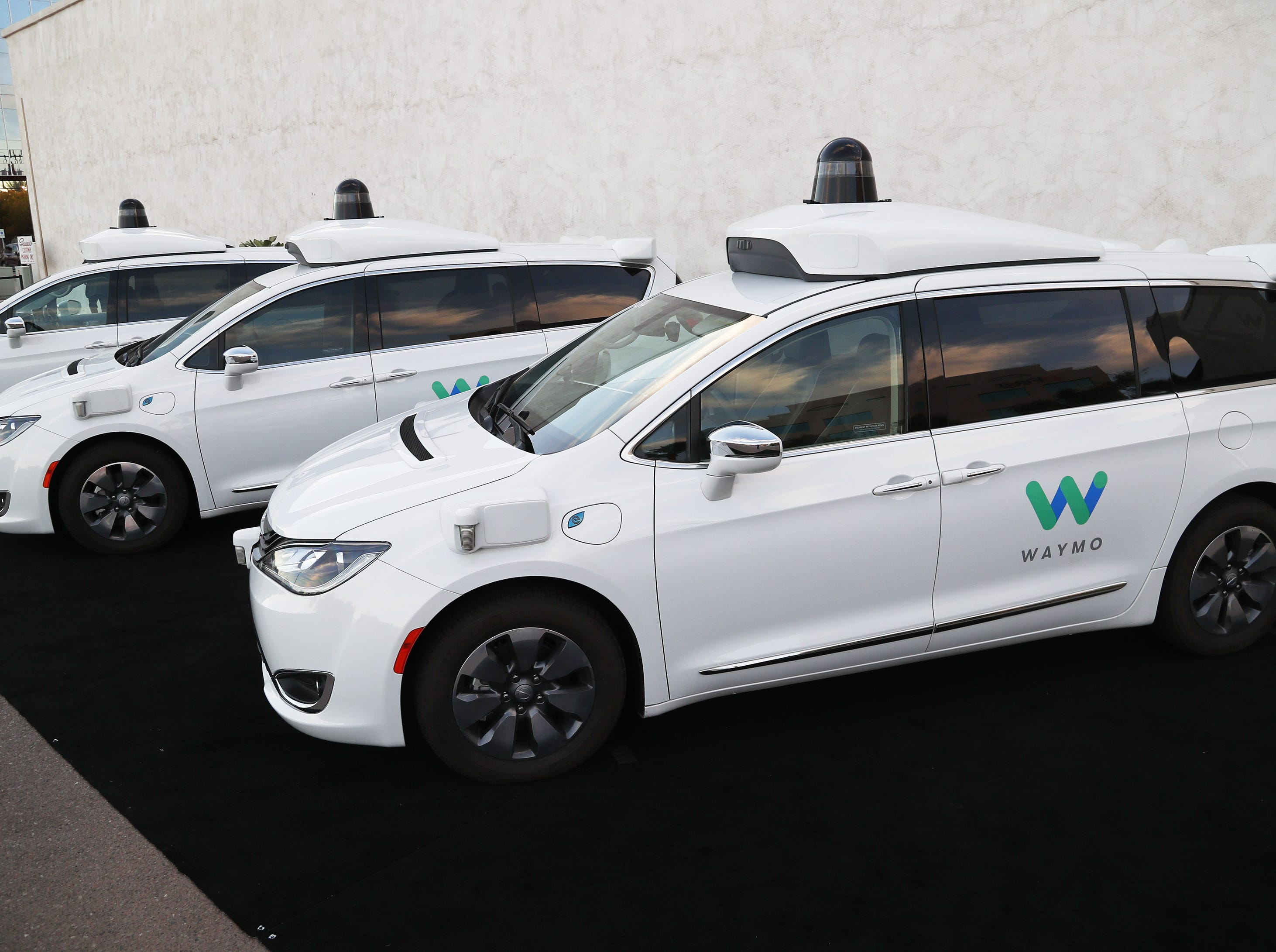 Waymo self-driving cars in Chandler. Tempe, Mesa, Chandler and Gilbert will be the first cities in the world with Waymo One self-driving service.
