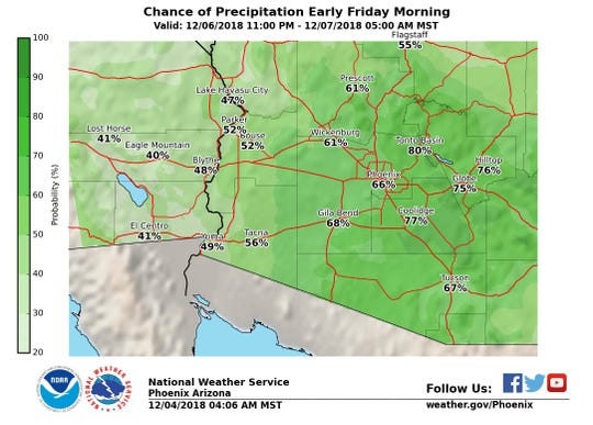 Rain showers expected across the Valley  later this week with the best chances late Thursday.