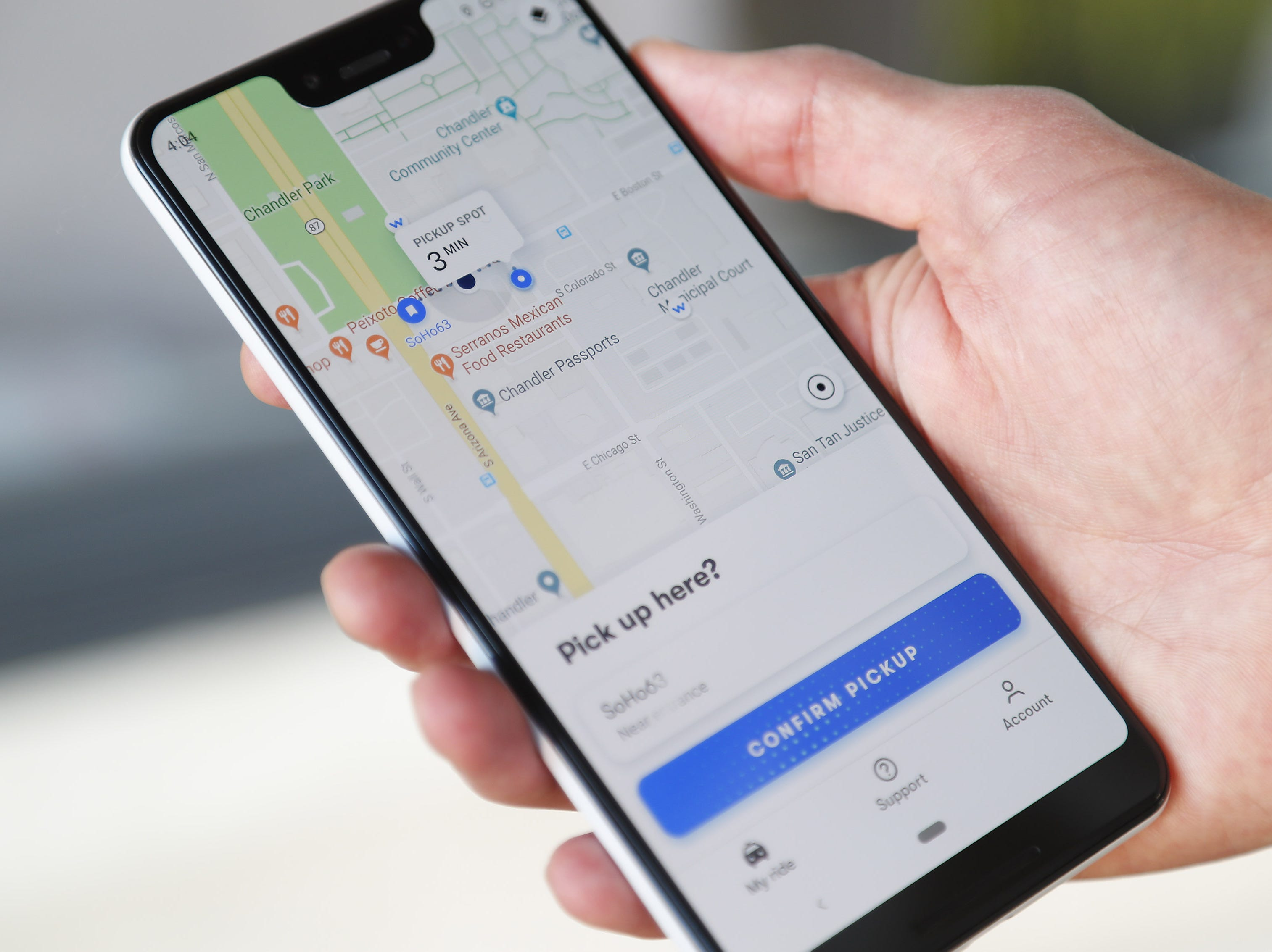 Waymo self-driving car app demonstrated Nov. 28, 2018, during a ride in Chandler. Tempe, Mesa, Chandler and Gilbert will be the first cities in the world with Waymo One self-driving service.