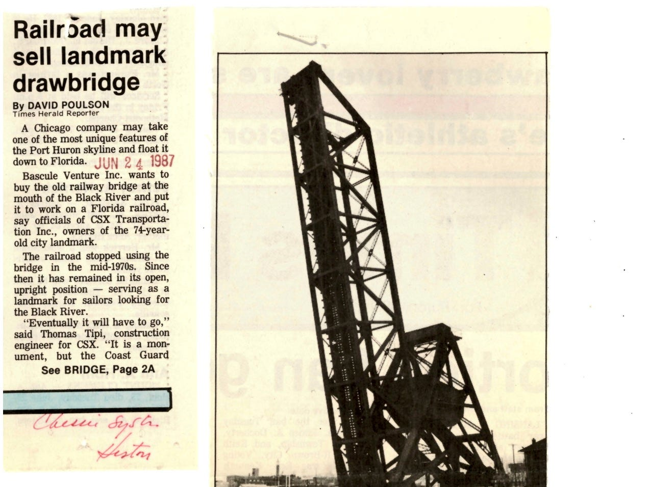 In a newspaper clipping dated June 24, 1987, a Chicago company is looking to purchase the railway draw bridge over the Black River and put it to work on a Florida railroad.