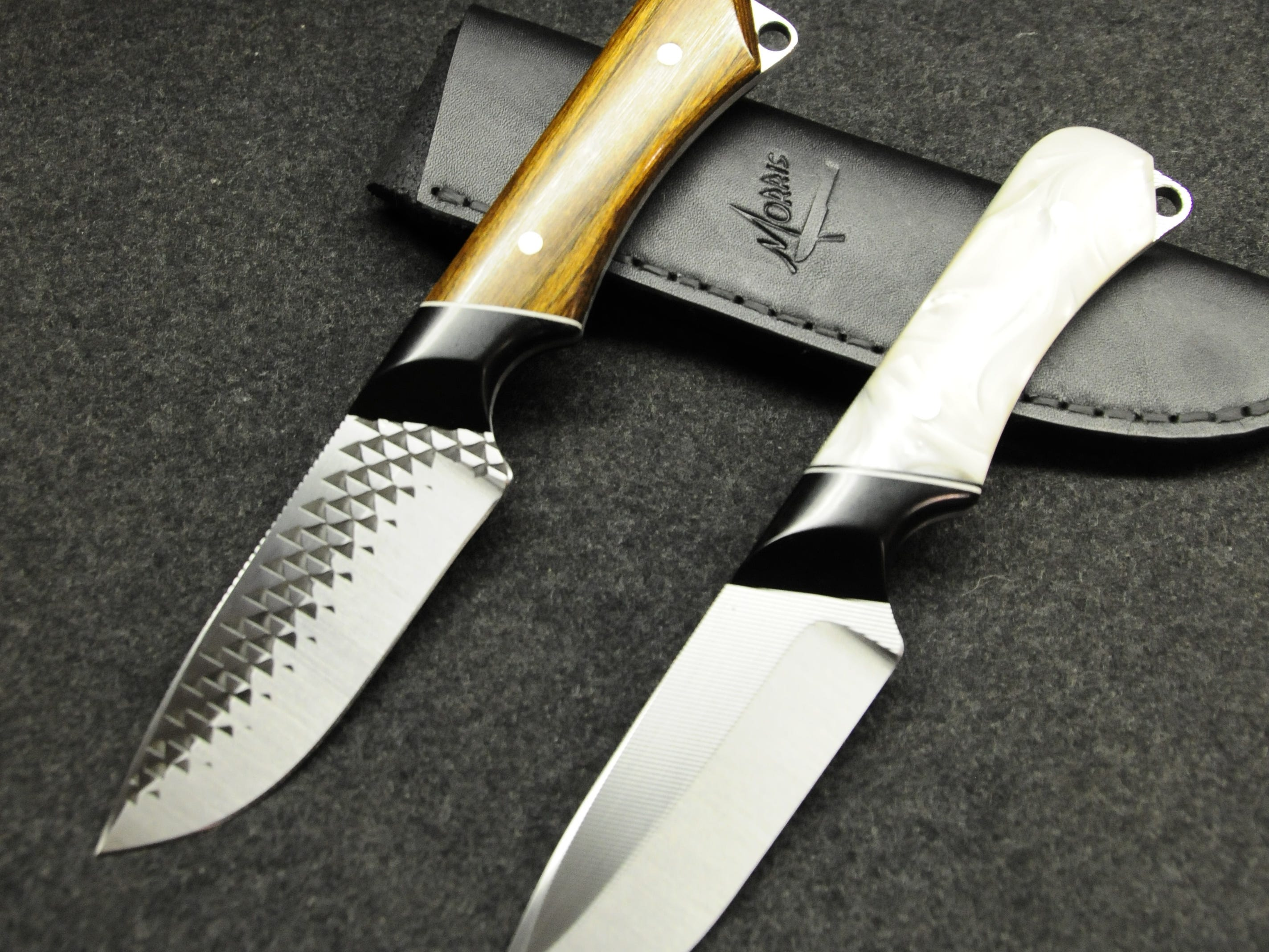 Michael Morris makes hunting knives with a distinctive diamond pattern.