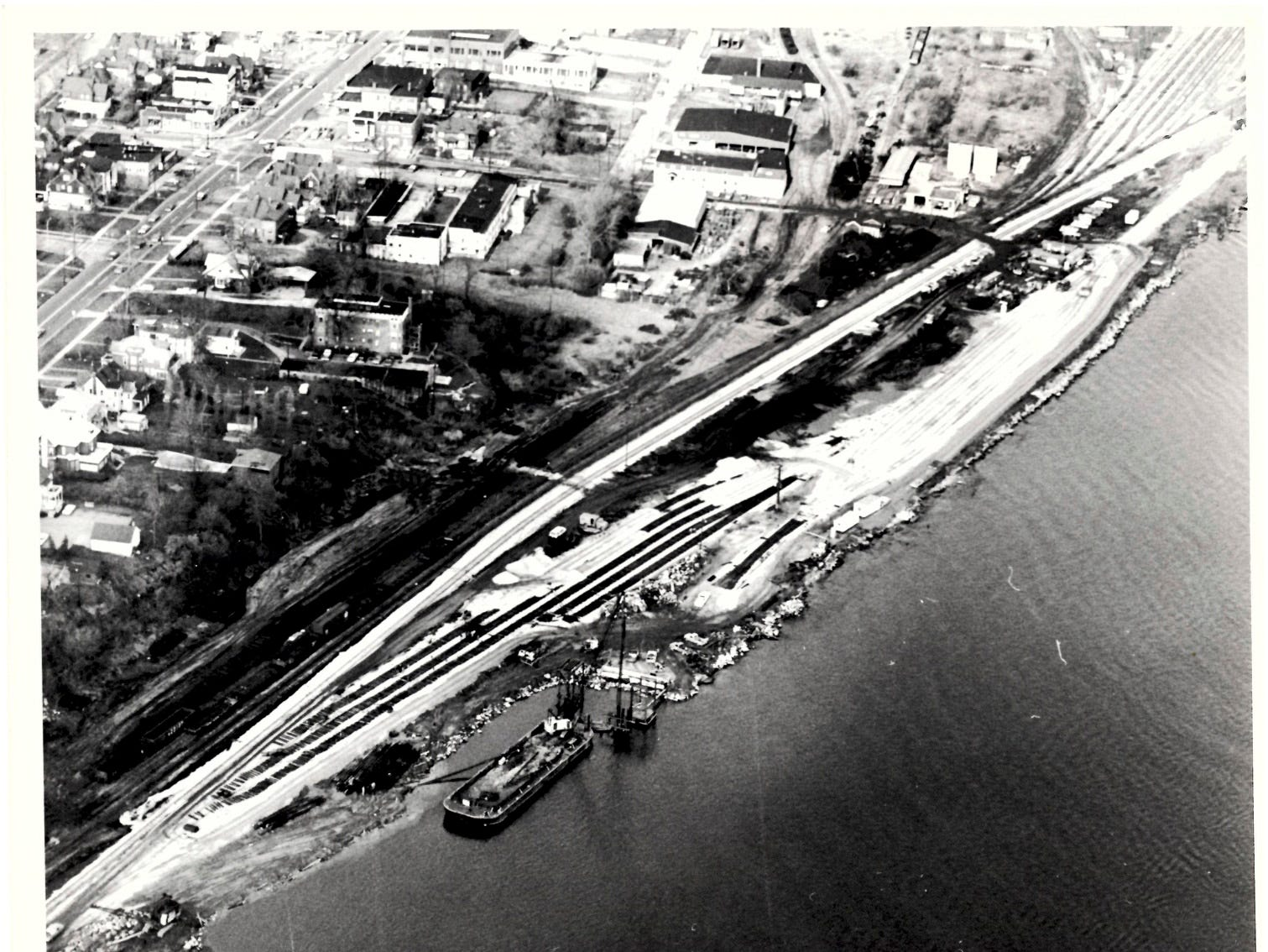 In a photo dated November 30, 1970, crews work to construct a dock for a new car ferry that will transport rail cars from the CSX and Grand Trunk Western railyards in Port Huron to Sarnia.