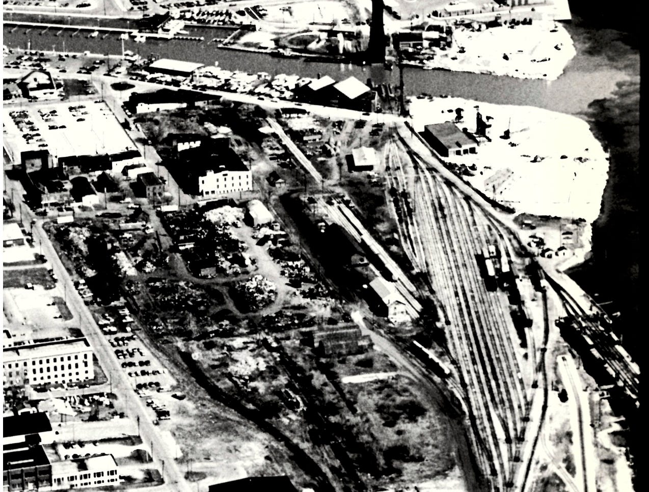In an undated photo, snow covers the ground in downtown Port Huron around the former CSX and Grand Trunk Western railyards.