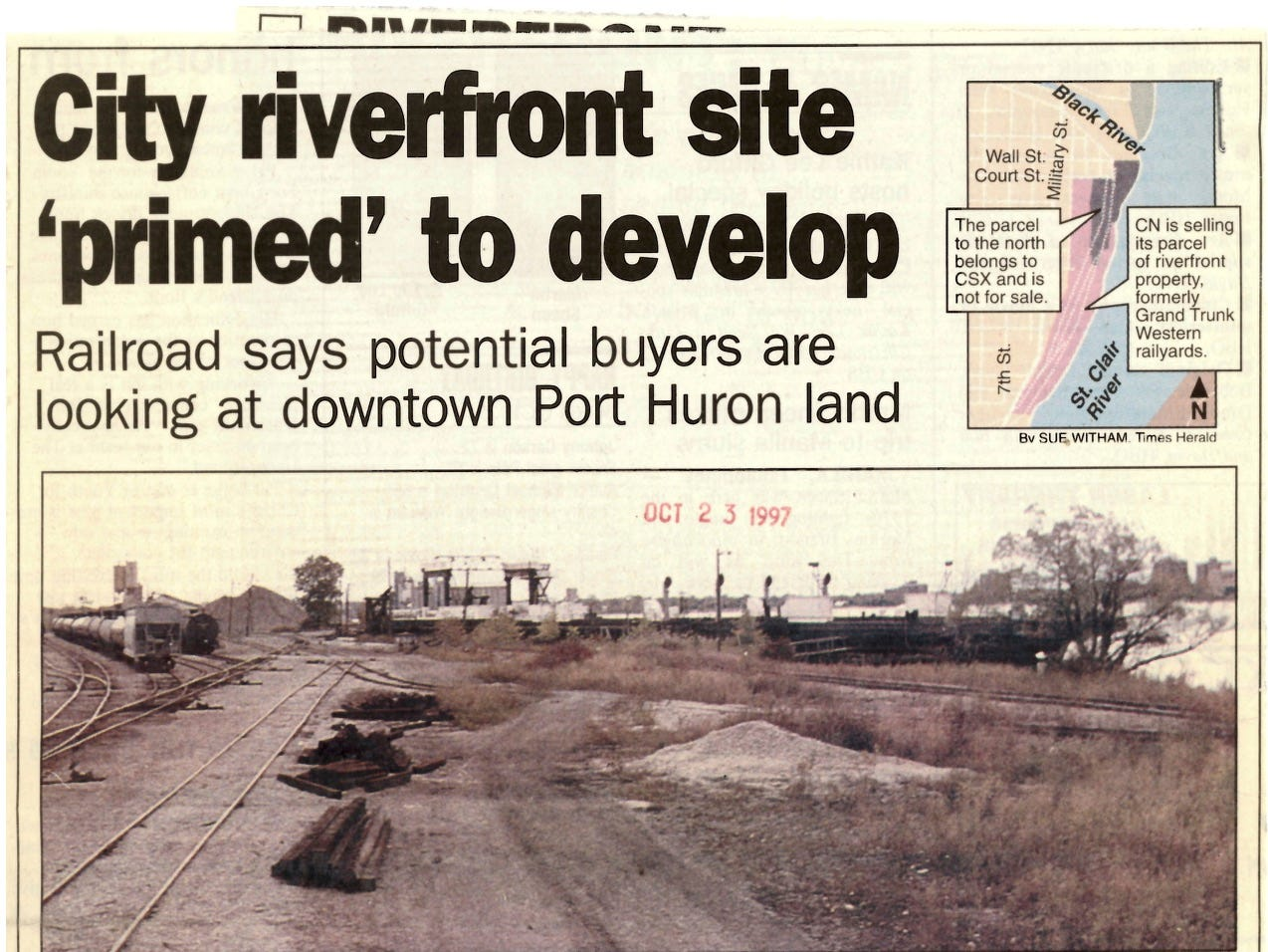 In an October 1997 clipping, CN Railroad officials are optimistic about the sale of the riverfront land south of the Black River in Port Huron, where the CSX and Grand Trunk Western railyards used to be.