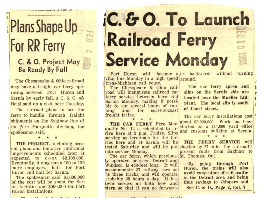 Newspaper clippings from 1953 talk about the addition of a car ferry to the Chesapeake & Ohio railroad, connecting Sarnia to Port Huron.