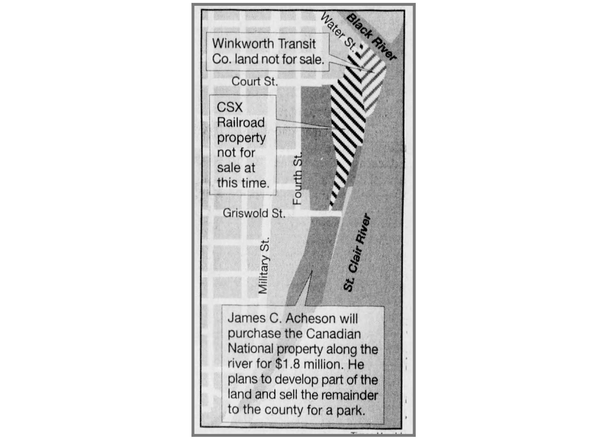 A May 1999 newspaper clipping shows the property that will be purchased by James C. Acheson.