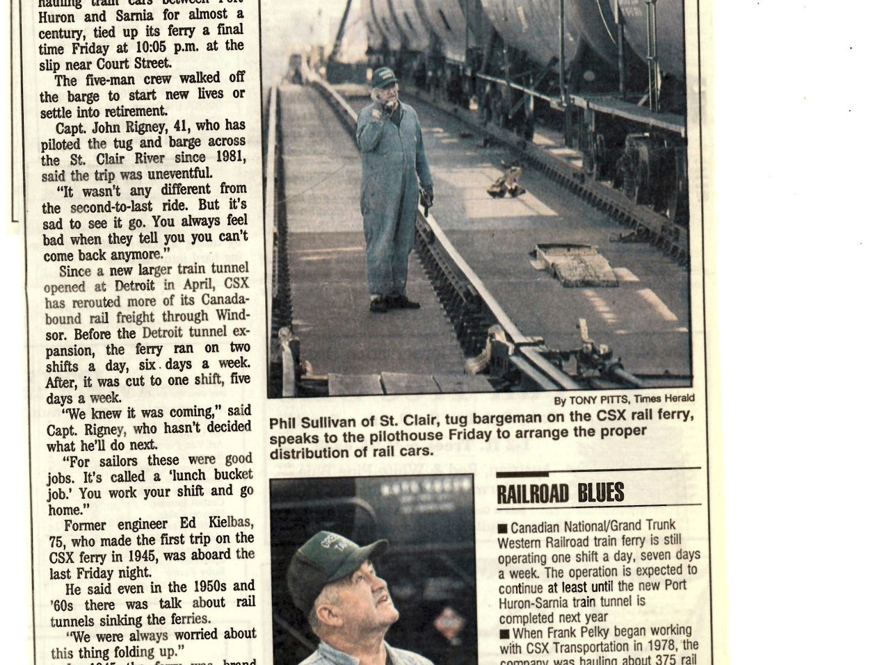 A newspaper clipping dated Oct. 8, 1994, tells the story of the final trip of the car ferry that transported rail cars between Port Huron and Sarnia. CSX began rerouting its trains through a tunnel that opened in Detroit the previous April, which led to the ferry operating on fewer shifts.