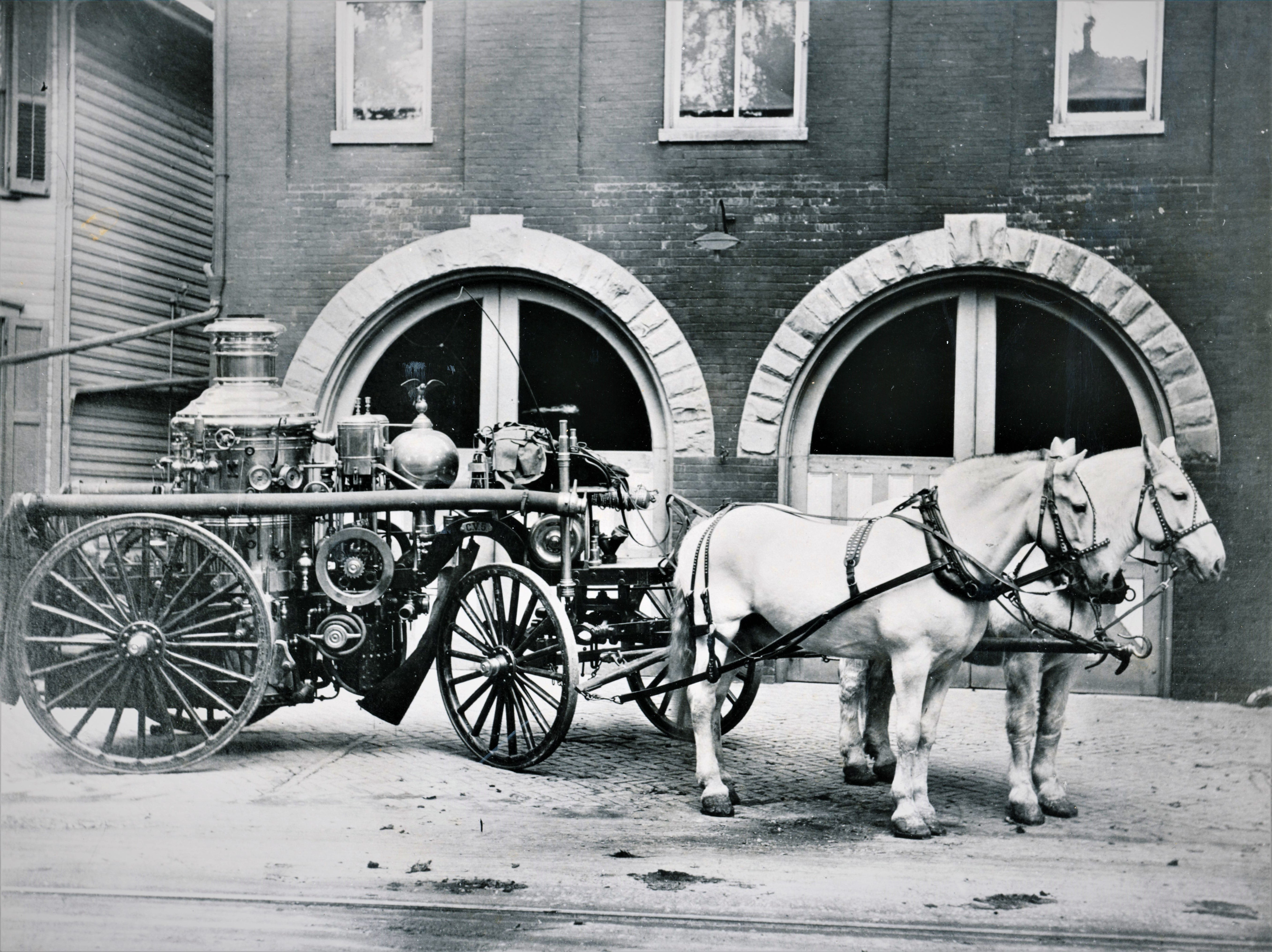 Two white horses, Pat and Charlie, pulling a 1903 La France Steam Fire Engine of the Cumberland Valley Hose Company No. 5 on Broad Street in Chambersburg in the early 1900s.