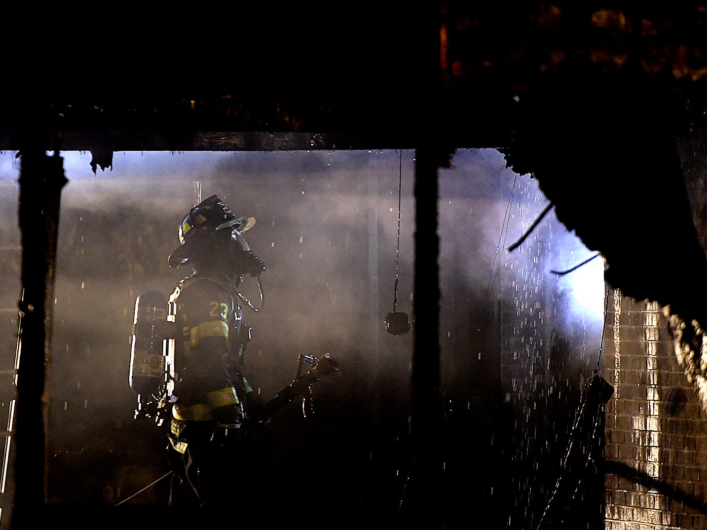 Firefighters battle a two-alarm blaze in a home in Dillsburg, Monday, November 12, 2018. John A. Pavoncello photo