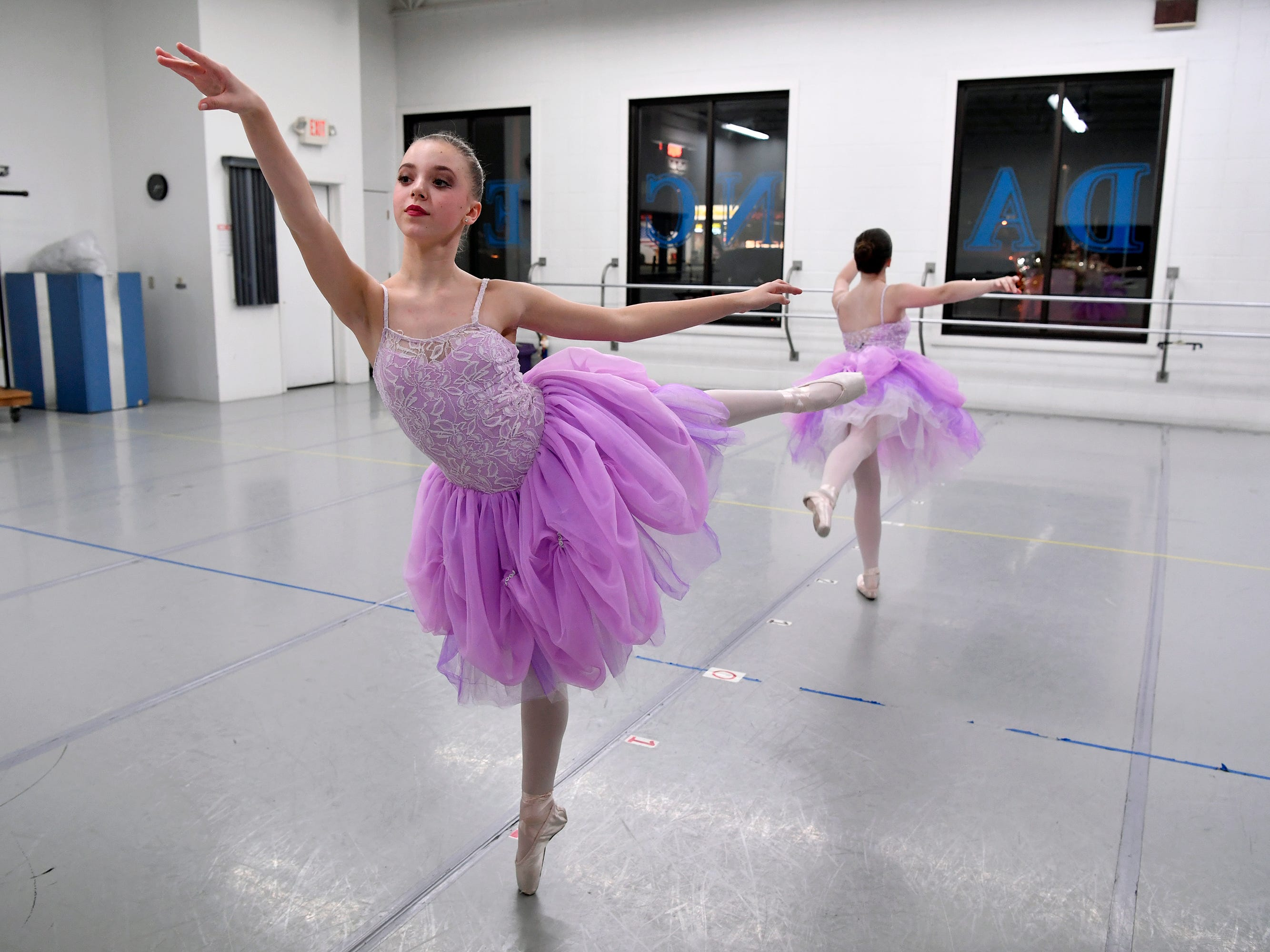 Ashylynd Talbert, 11, left, and Anya Lebouitz, 13, of the Midstate Ballet rehearse for the 20th Nutcracker Season at Greater York Dance, Monday, December 3, 2018. 