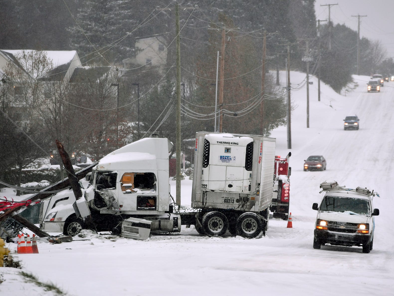 Cape Horn Road in York Township was closed most of the day due to a jack-knifed tractor trailer, Thursday, November 14, 2018. John A. Pavoncello photo