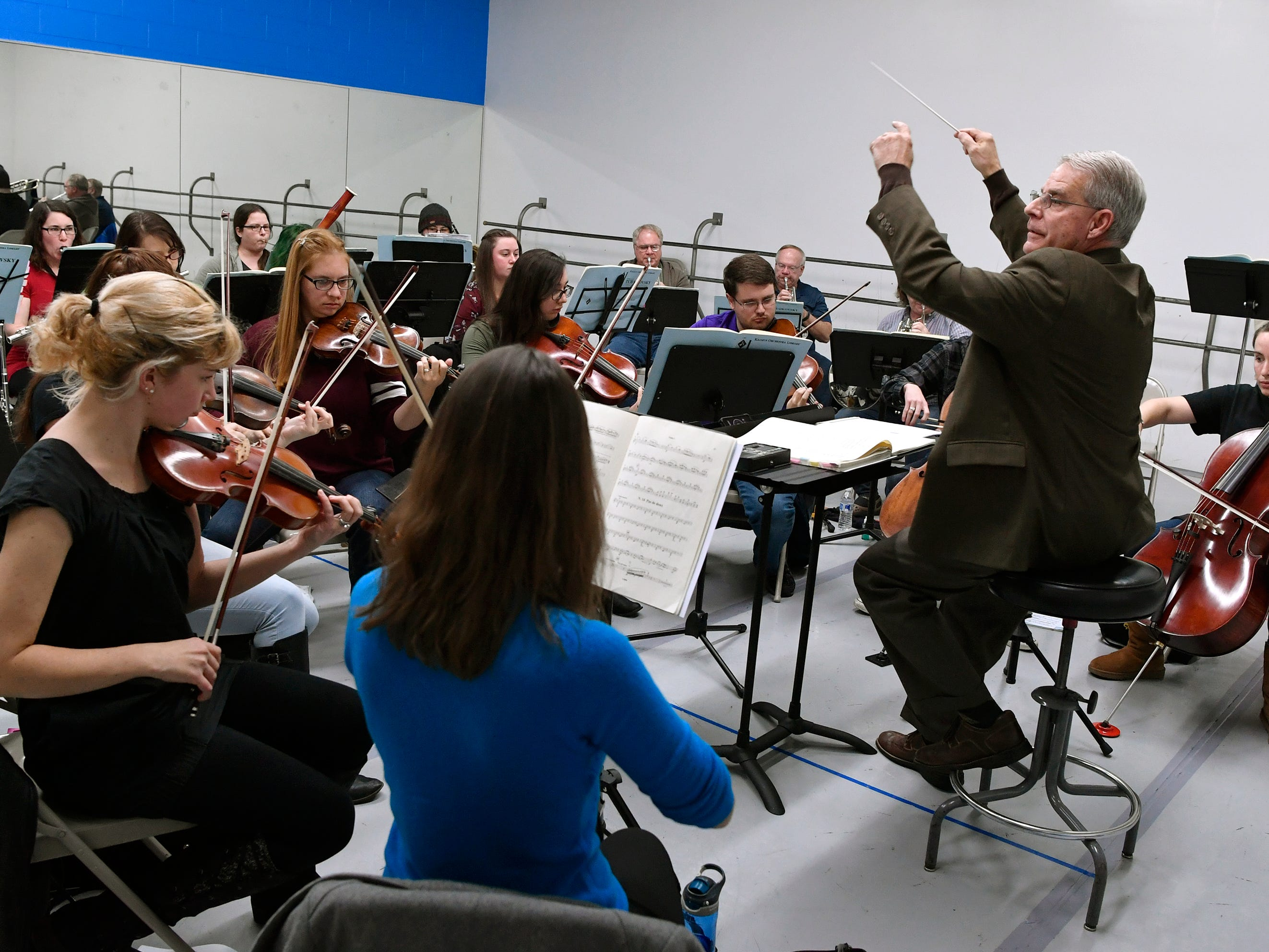 "Dr. William Rapp, right, leads  the Midstate Ballet Orchestra as they rehearse ""Waltz of the Flowers"" for the 20th Nutcracker Season at Greater York Dance, Monday, December 3, 2018. 