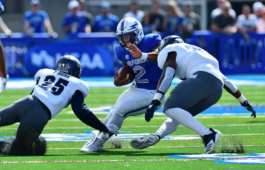 Air Force quarterback Arion Worthman (2) gets shut down by the Nevada defense during the teams' Mountain West game earlier this season.