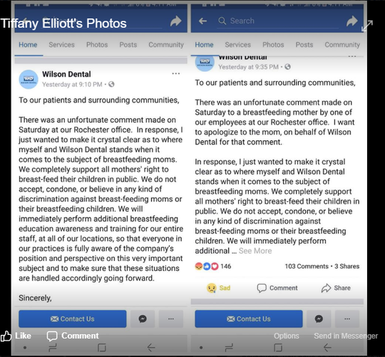 """Wilson Dental released a statement Sunday regarding the incident, at right. At left is the original statement, which did not include the mention of a """"breastfeeding mother"""" as the recipient of the """"unfortunate comment."""""""