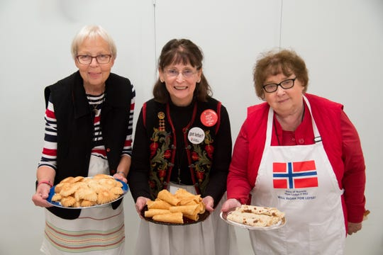 From left to right: Grethe Koenig, Evelyn Moreland, and Connie Bowers with traditional Norwegian baked goods.
