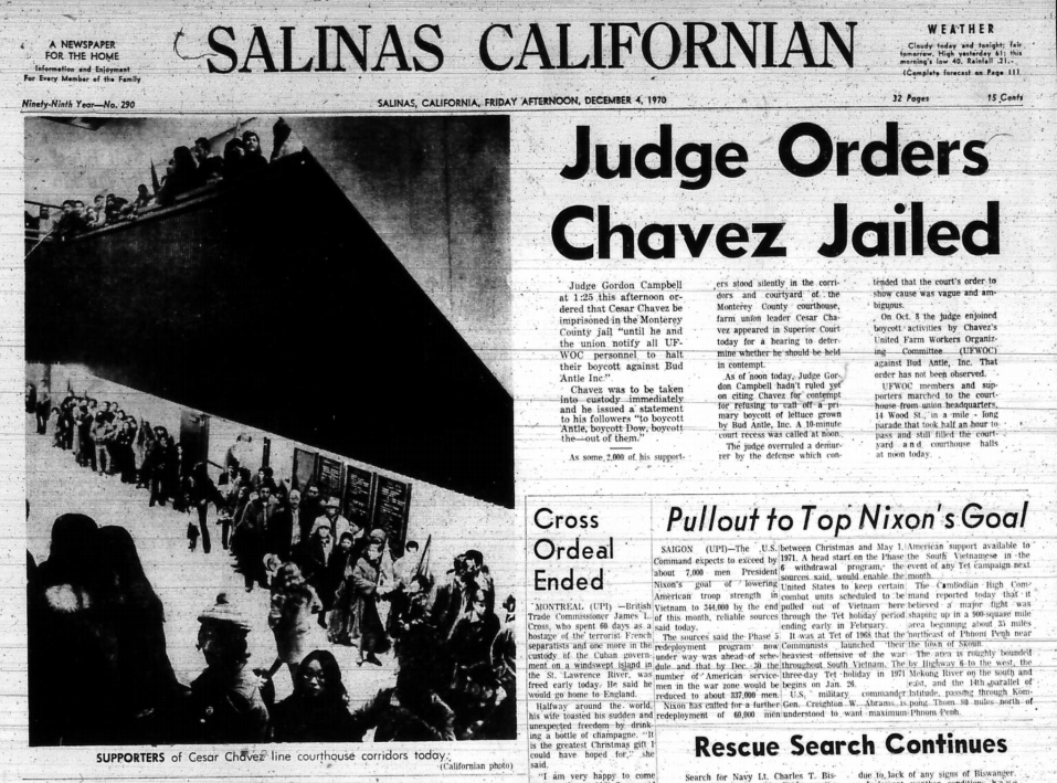 Salinas Californian coverage of Cesar Chavez's imprisonment in the Monterey County Jail. The photo shows supporters in the old courthouse.