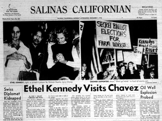 Salinas Californian coverage of Ethel Kennedy's visit to see Cesar Chavez at the Monterey County Jail.