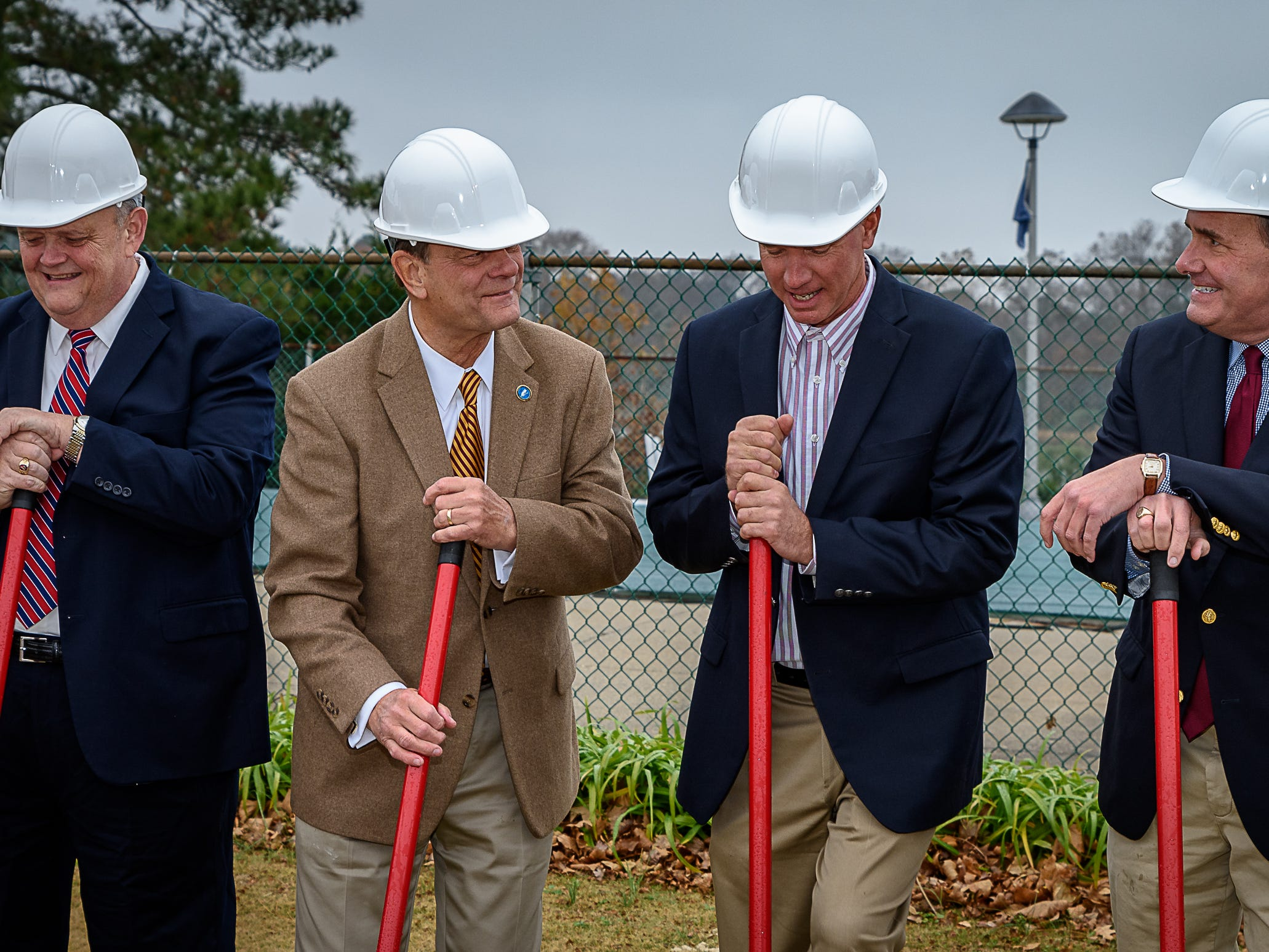 Local elected officials get ready to break ground for the new Eastern Shore Yacht and Country Club clubhouse in Melfa on Saturday. From left are: Accomack County Supervisor Donald Hart, Northampton County Supervisor  Spencer Murray, State Delegagte Bob Bloxom Jr. and State Senator Lynwood Lewis.
