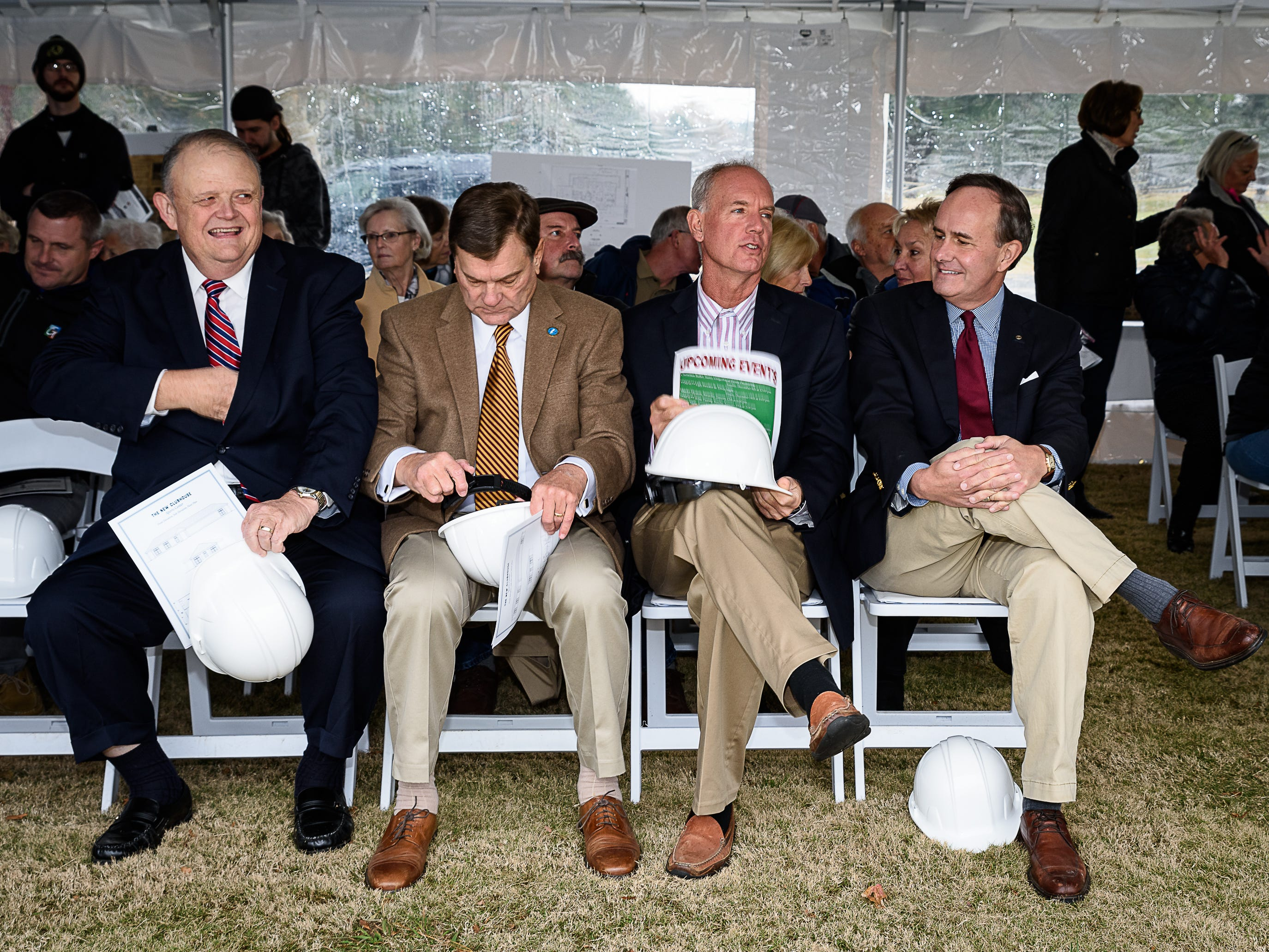 Attending the groundbreaking for the new clubhouse in Melfa are, from left, Accomack County Supervisor Donald Hart, Northampton County Supervisor Spencer Murray, State Delegate Bob Bloxom Jr. and State Sen. Lynwood Lewis Jr.
