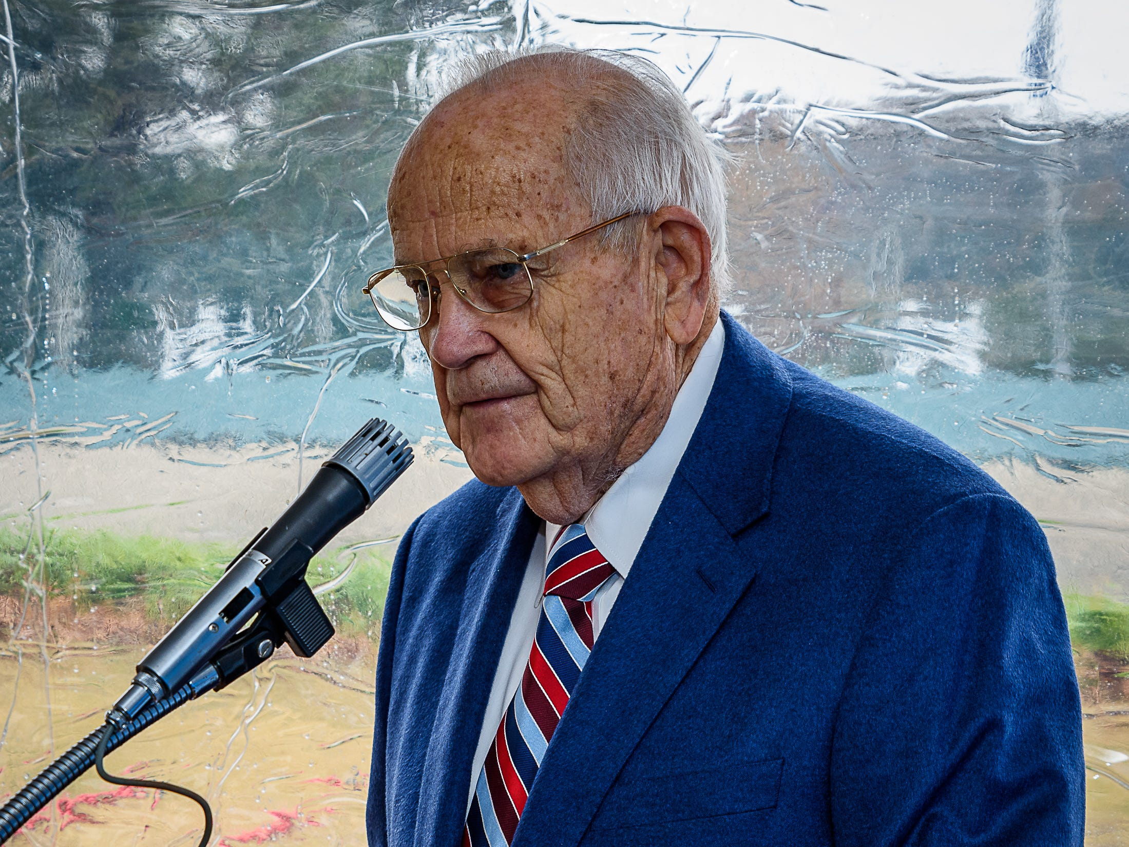 Founding President George McMath speaks to the assembled crowd at the Eastern Shore Yacht and Country Club groundbreaking on Saturday.