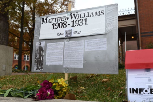 A memorial for Matthew Williams, who was lynched by a  mob in Salisbury on December 4, 1931, has been placed on the lawn of the old court house lawn in downtown Salisbury to honor his death.