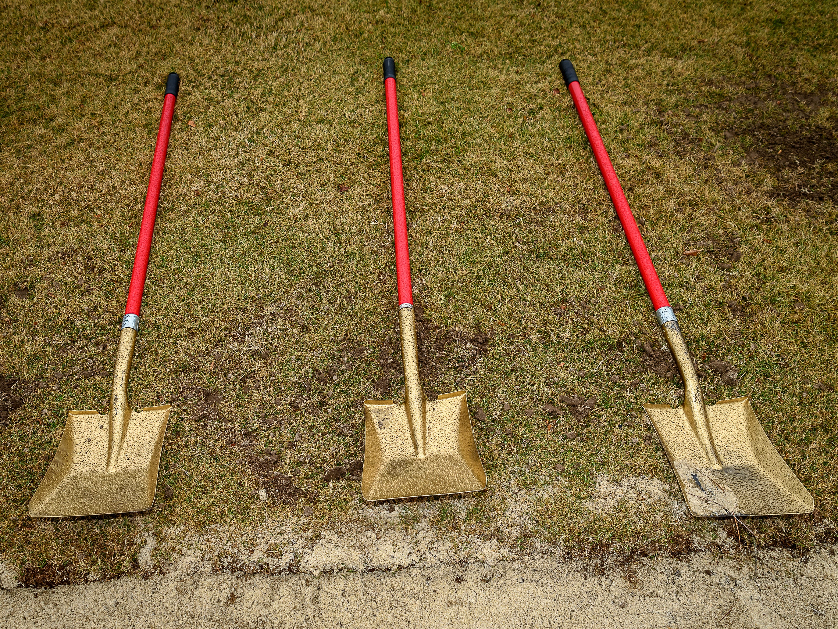 Shovels are laid out in preparation of the groundbreaking ceremony.