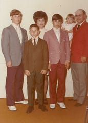 A Dillard family portrait, from left to right, Jack Jr., Jim, Burniece, Jerry, Jan and Jack Sr.