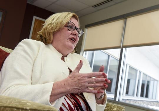 Vice President of Institutional Advancement Kathy Hansen talks about the College of St. Benedict's Illuminating Lives campaign during an interview Monday, Dec. 3, in St. Joseph.