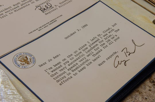 Joanne Benson keeps a thank-you note she received  from George H.W. Bush after he visited St. Cloud in September of 1986.