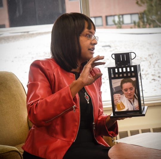 College of St. Benedict President Mary Dana Hinton talks about the school's $100 million Illuminating Lives fundraising campaign during an interview Monday, Dec. 3, in St. Joseph.