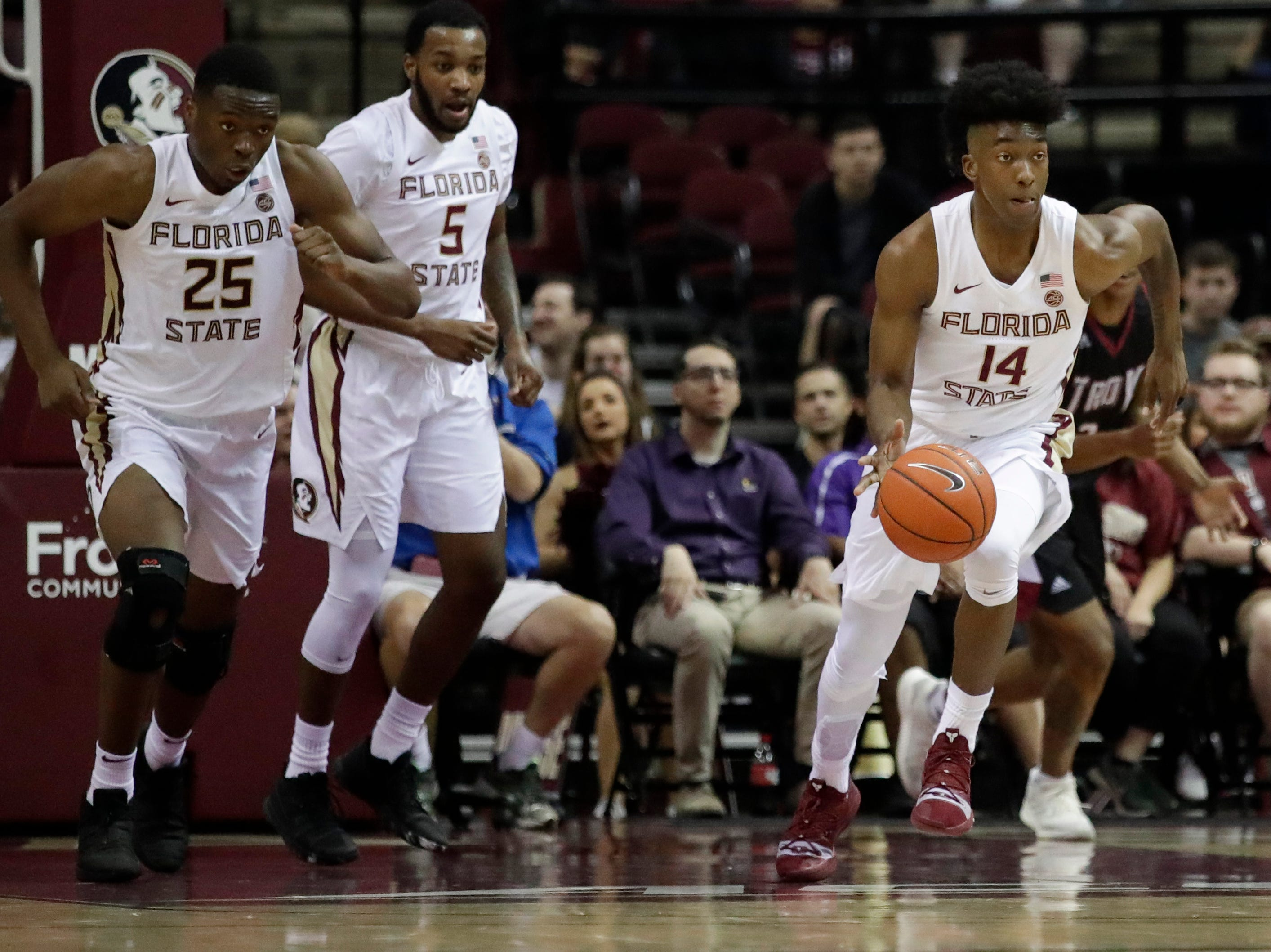 Florida State Seminoles guard Terance Mann (14) gets a break away during a game between FSU and Troy University at Donald L. Tucker Civic Center Monday, Dec. 3, 2018.