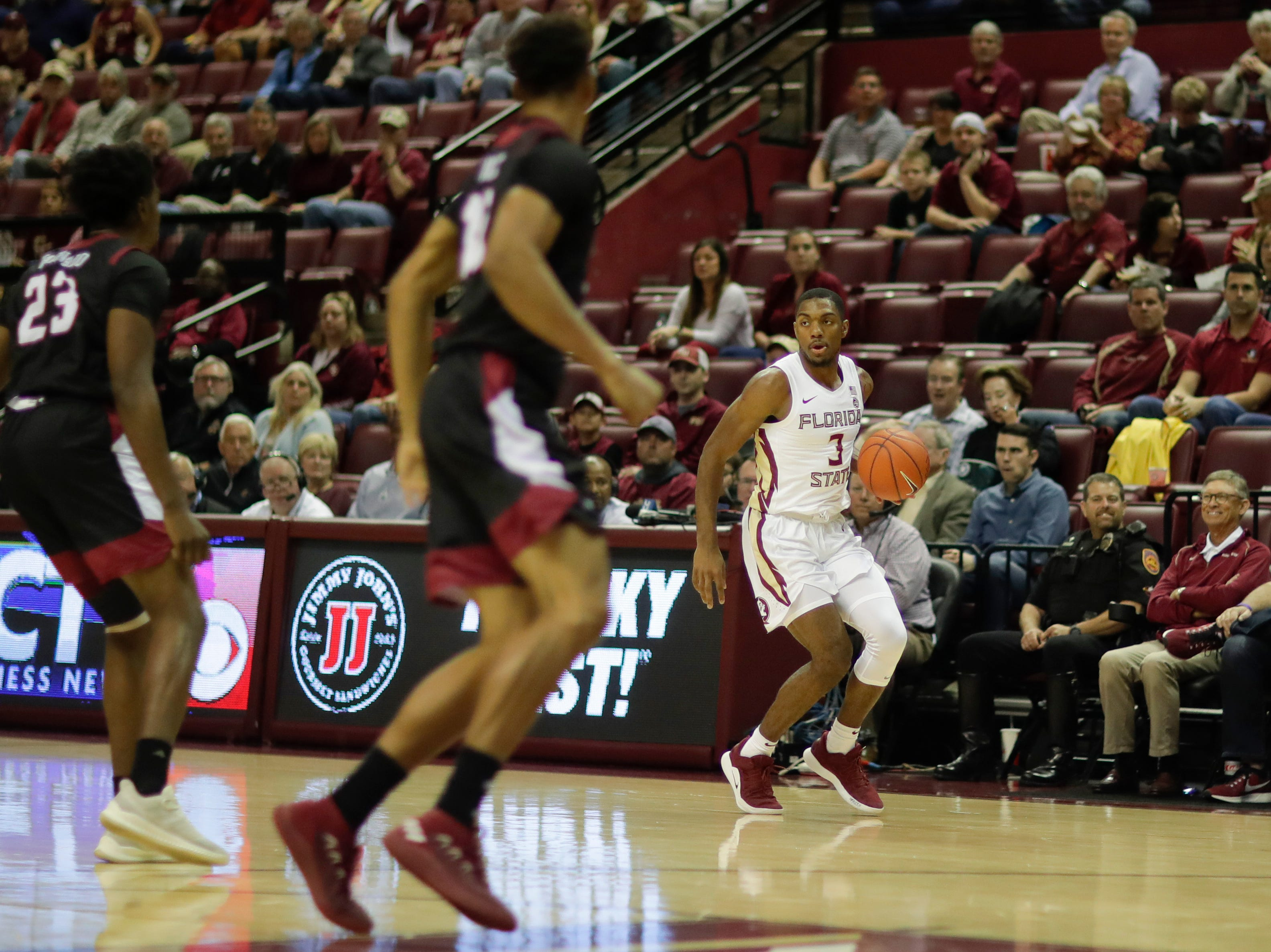Florida State Seminoles guard Trent Forrest (3) dribbles during a game between FSU and Troy University at Donald L. Tucker Civic Center Monday, Dec. 3, 2018.