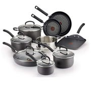 The 14-piece T-fal Hard Anodized Nonstick Thermo-Spot Heat Indicator Cookware Set  is $139.99 on Amazon.