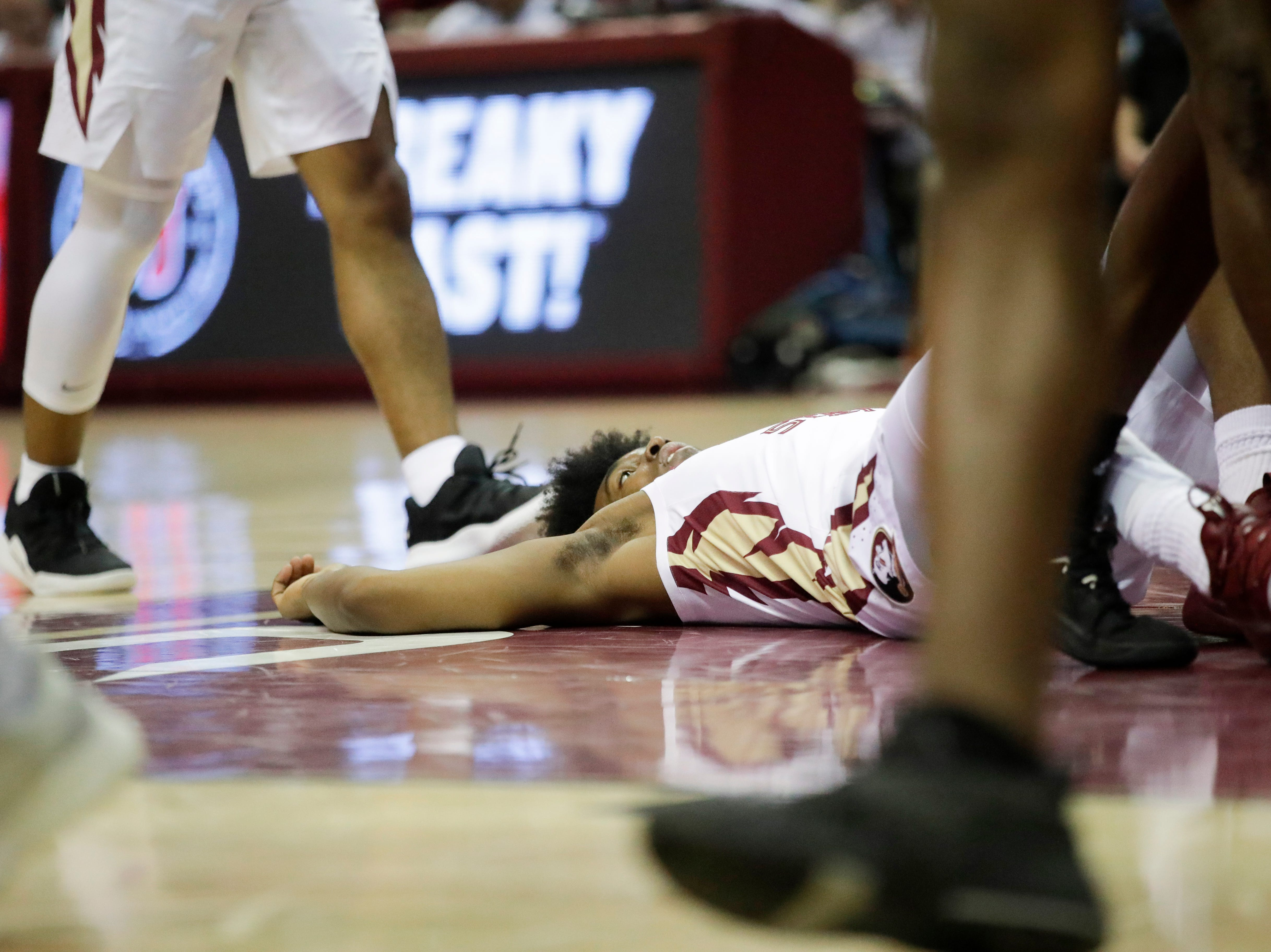 Florida State Seminoles guard David Nichols (11) goes down during a game between FSU and Troy University at Donald L. Tucker Civic Center Monday, Dec. 3, 2018.