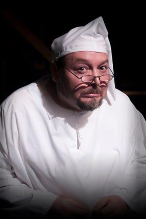 "Derek Nieves is the grumpy Ebenezer Scrooge in ""Theatre Tallahassee"" production of ""Charles Dicken' A Christmas Carol."""