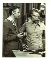 Don Rapp with Fred Rogers on the Mr. Rogers Neighborhood set in in 1975.