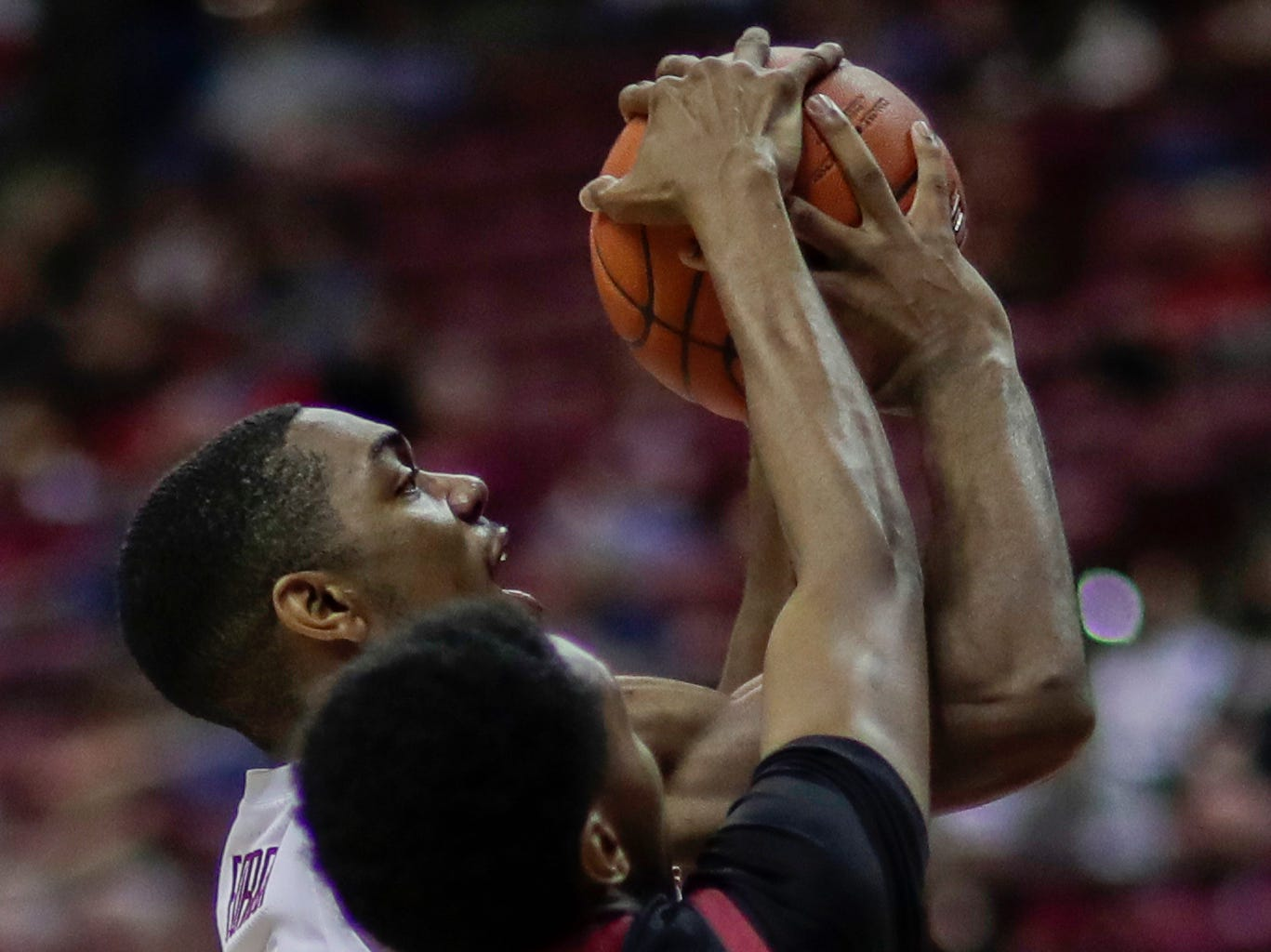 Florida State Seminoles guard Trent Forrest (3) gets his shot blocked by Troy Trojans forward Javan Johnson (1) during a game between FSU and Troy University at Donald L. Tucker Civic Center Monday, Dec. 3, 2018.