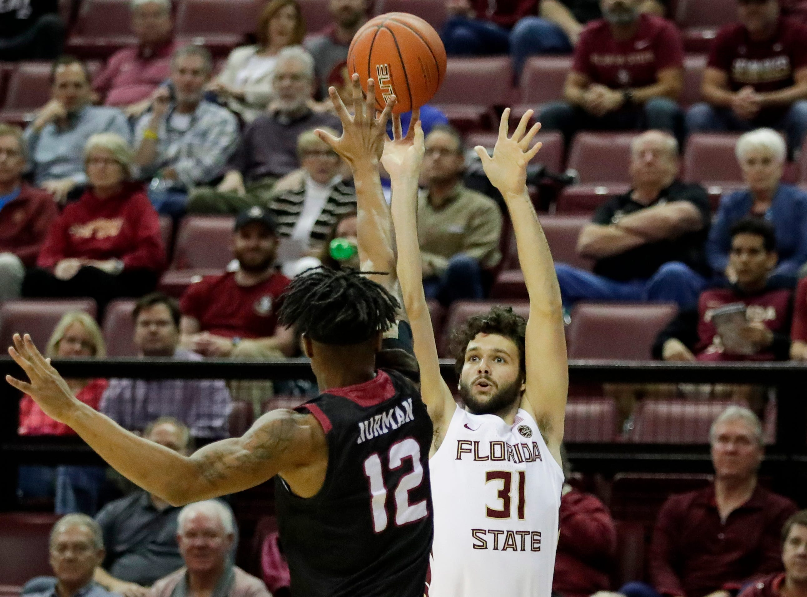 Florida State Seminoles guard Wyatt Wilkes (31) shoots from the outside during a game between FSU and Troy University at Donald L. Tucker Civic Center Monday, Dec. 3, 2018.