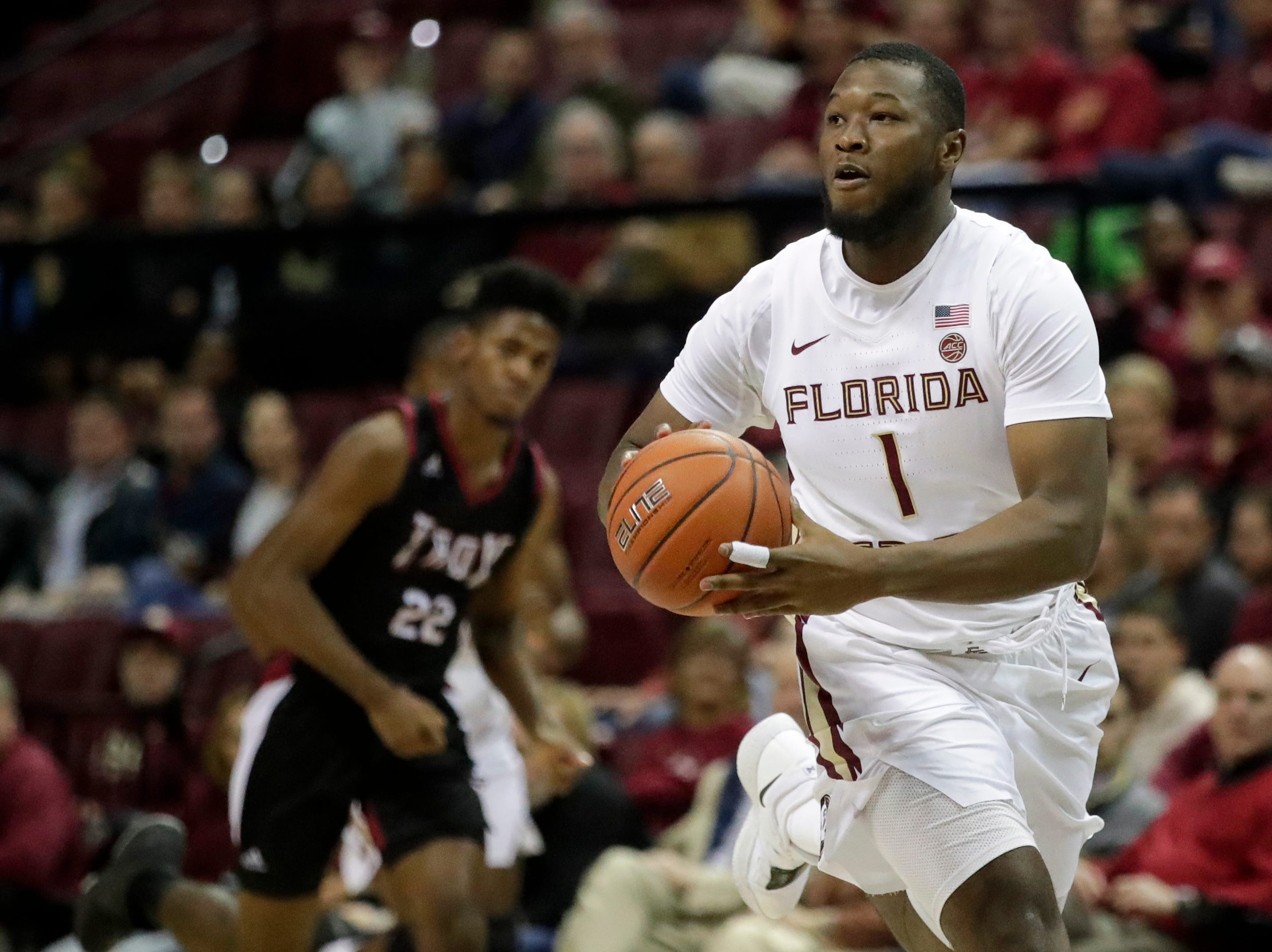 Florida State Seminoles forward Raiquan Gray (1) passes the ball during a game between FSU and Troy University at Donald L. Tucker Civic Center Monday, Dec. 3, 2018.