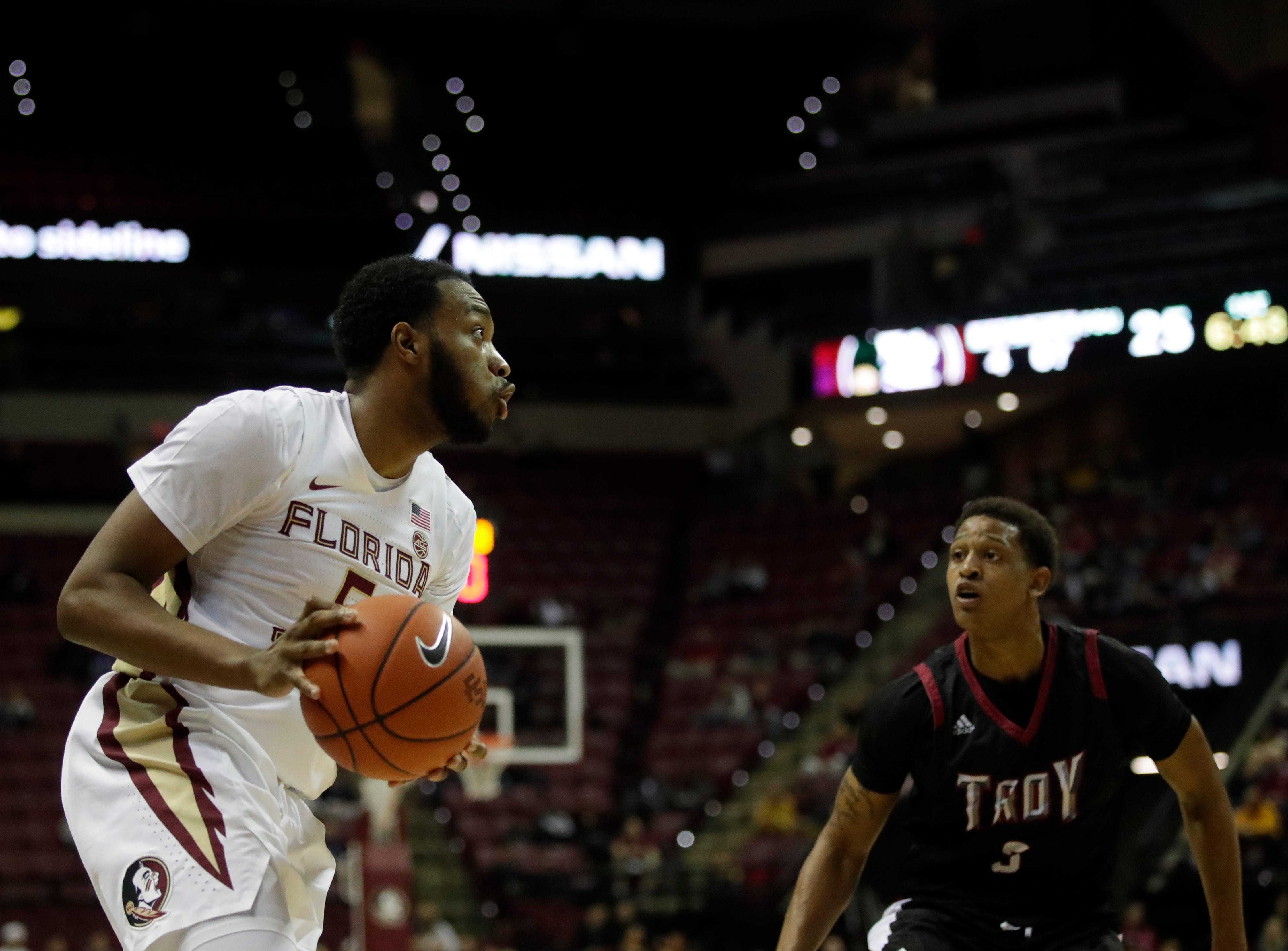 Florida State Seminoles guard PJ Savoy (5) looks for a shot during a game between FSU and Troy University at Donald L. Tucker Civic Center Monday, Dec. 3, 2018.