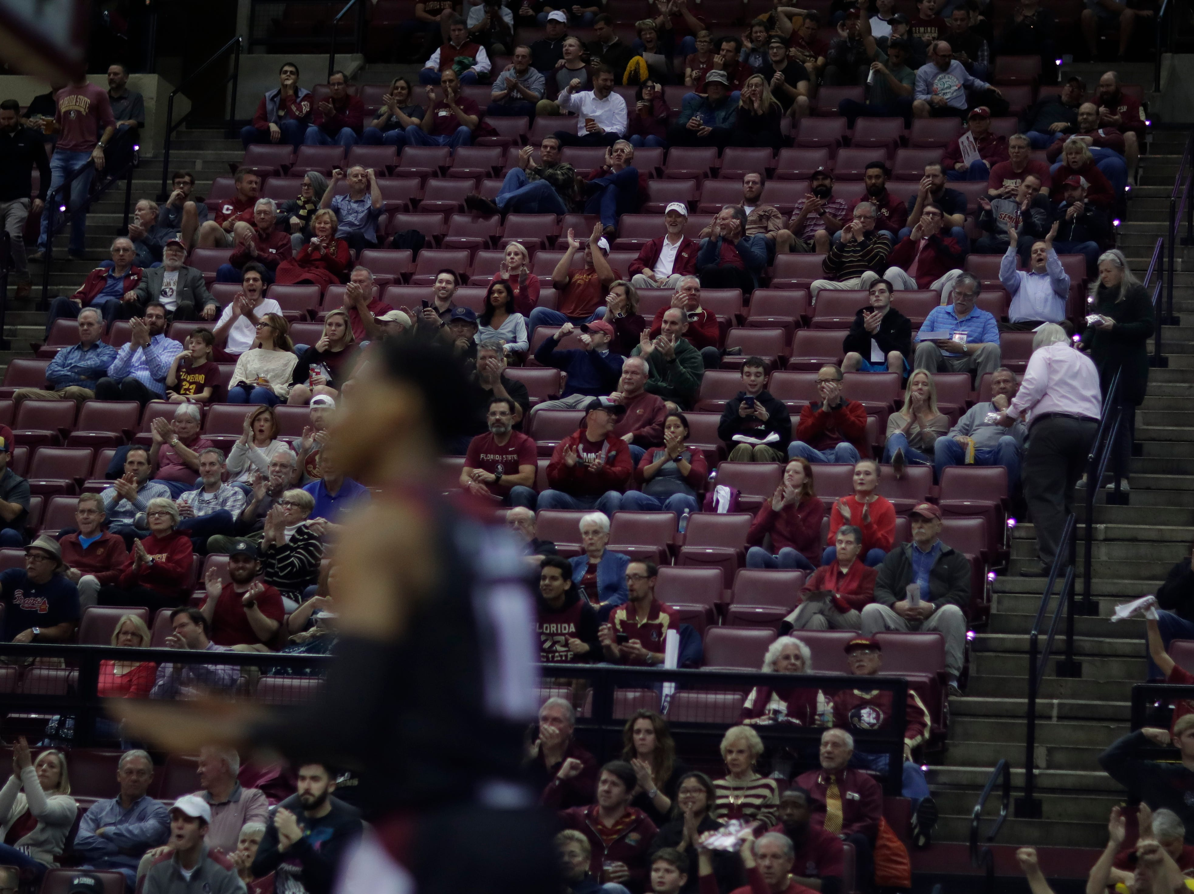 Fans cheer after the Seminoles score during a game between FSU and Troy University at Donald L. Tucker Civic Center Monday, Dec. 3, 2018.