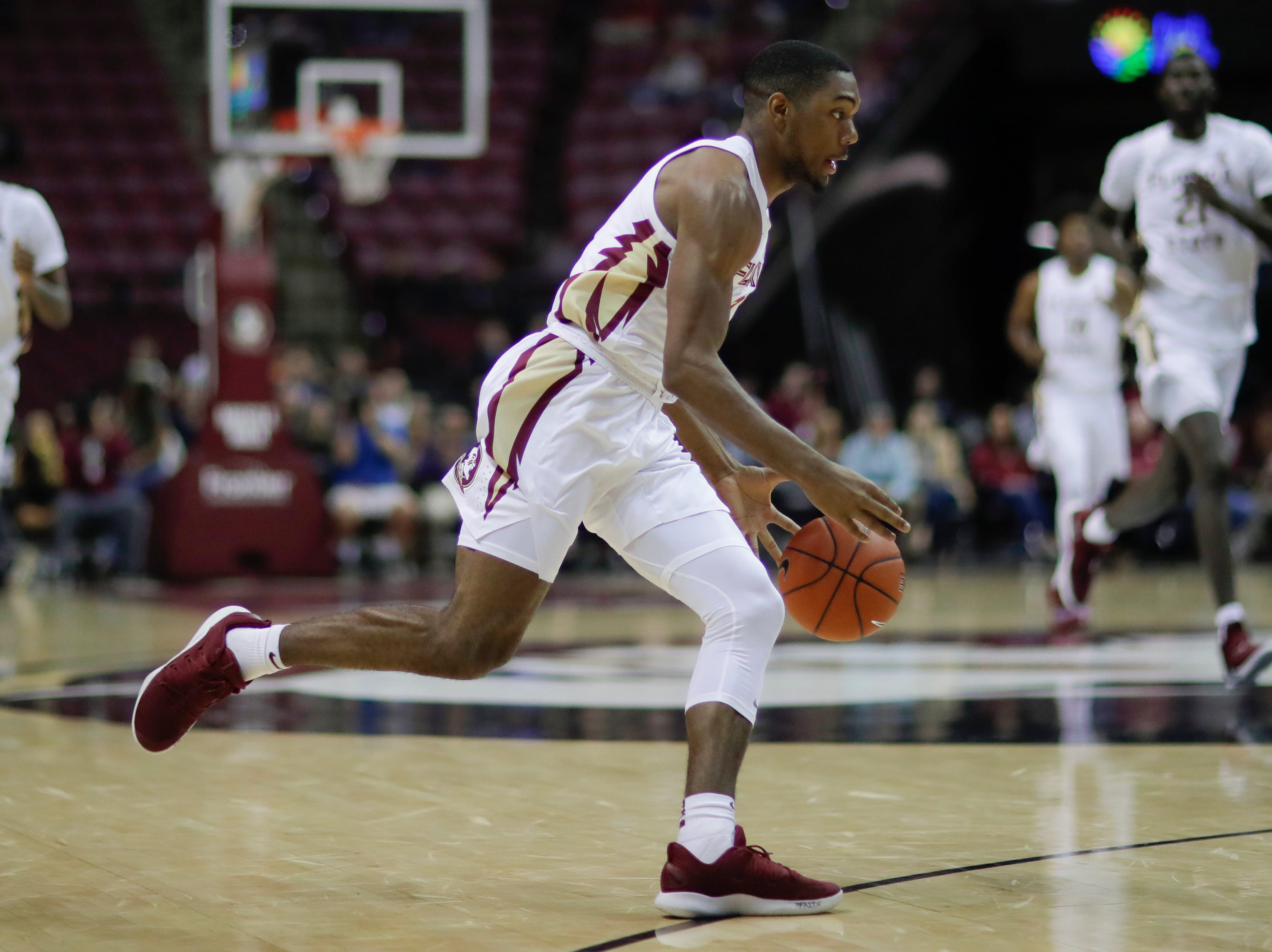 Florida State Seminoles guard Trent Forrest (3) drives to the lane during a game between FSU and Troy University at Donald L. Tucker Civic Center Monday, Dec. 3, 2018.
