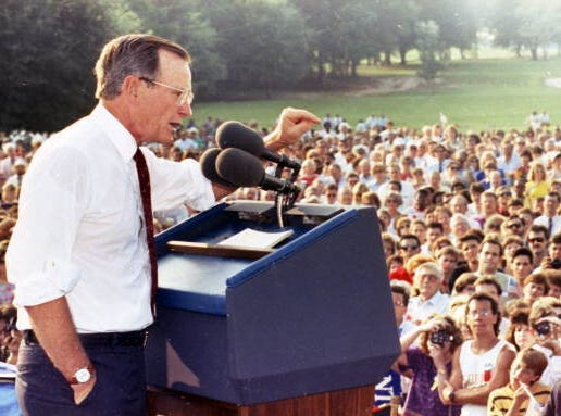 In this Sept. 6, 1990, file photo, President George H.W. Bush campaigns for the re-election of Congressman Bill Grant. Courtesy Florida Memory Project In this Sept. 6, 1990 file photo, former president George H.W. Bush campaigns for the re-election of Congressman Bill Grant.